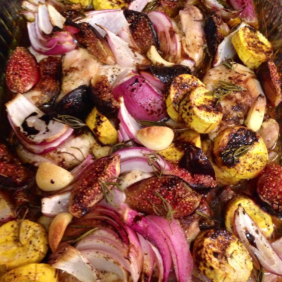 Roast Chicken with Fig, Plantain, and Red Onion