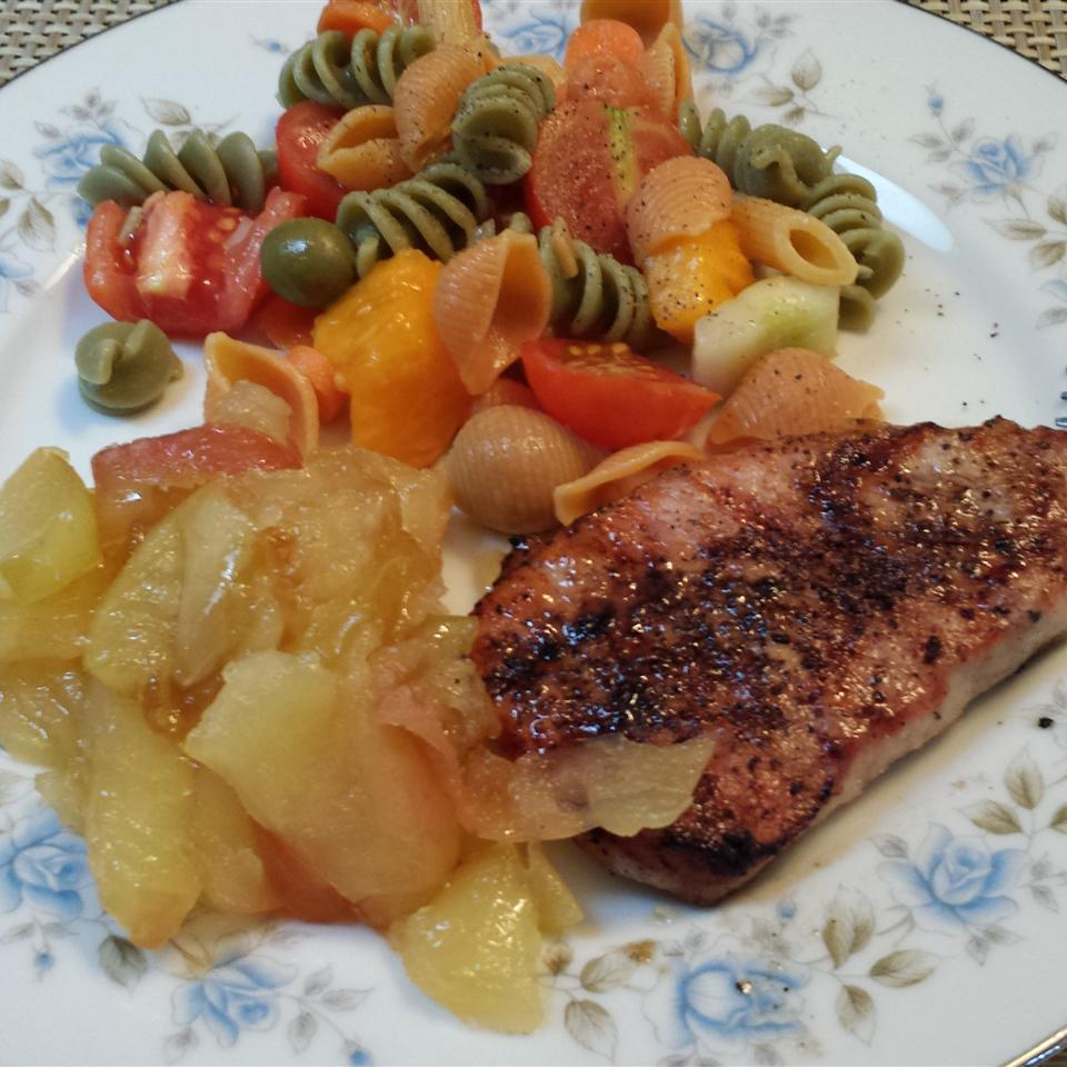 Grilled Pork Tenderloin with Fried Apples