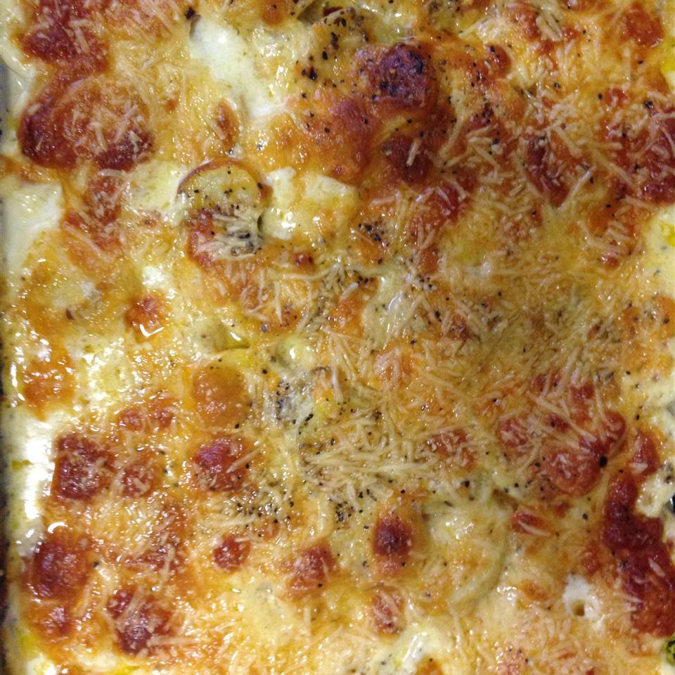 Three Cheese Garlic Scalloped Potatoes Sandi
