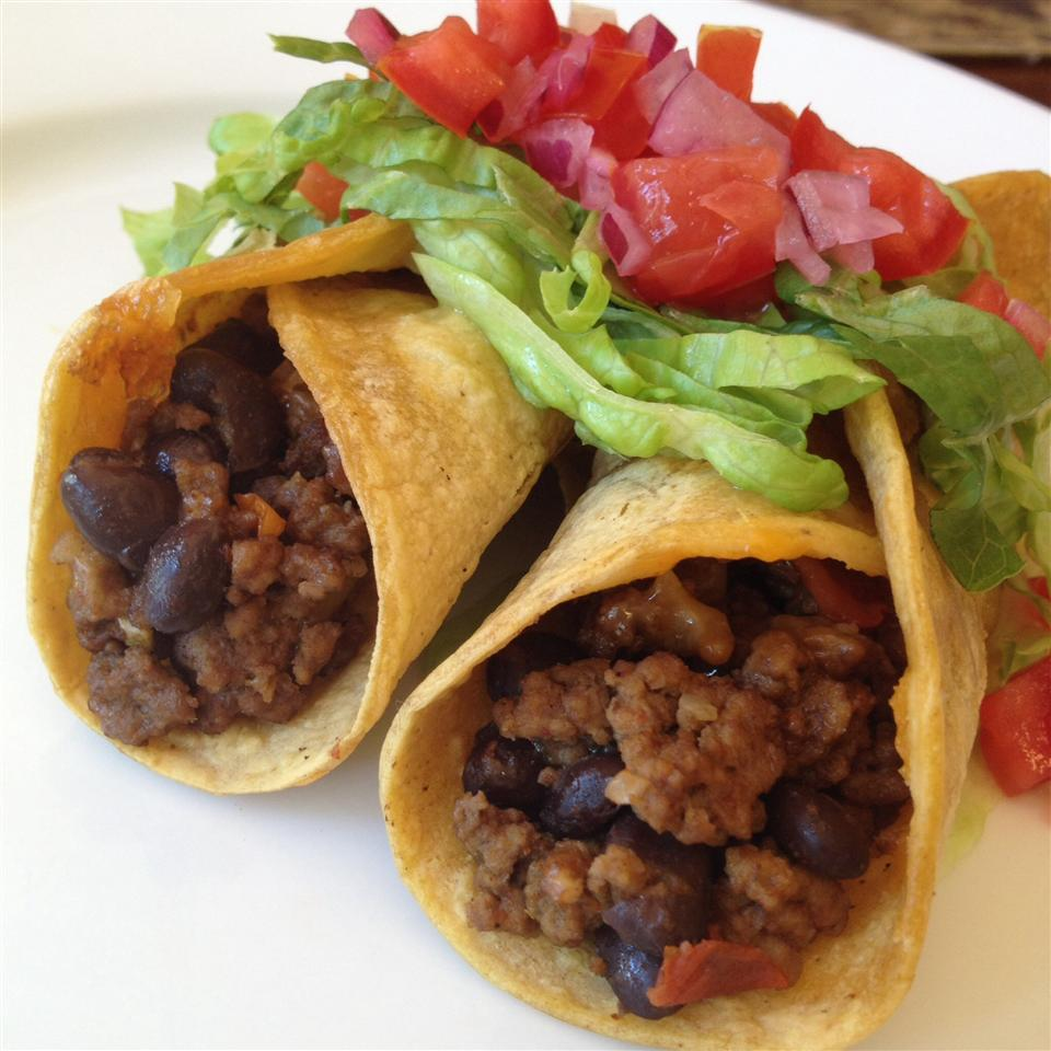 """Beans help stretch taco filling for days! Rock_lobster waxes poetic: """"Taco Mix w/ Black Beans Haiku: """"Gave us leftovers, by stretching one pound of meat. Thought it was quite good."""""""