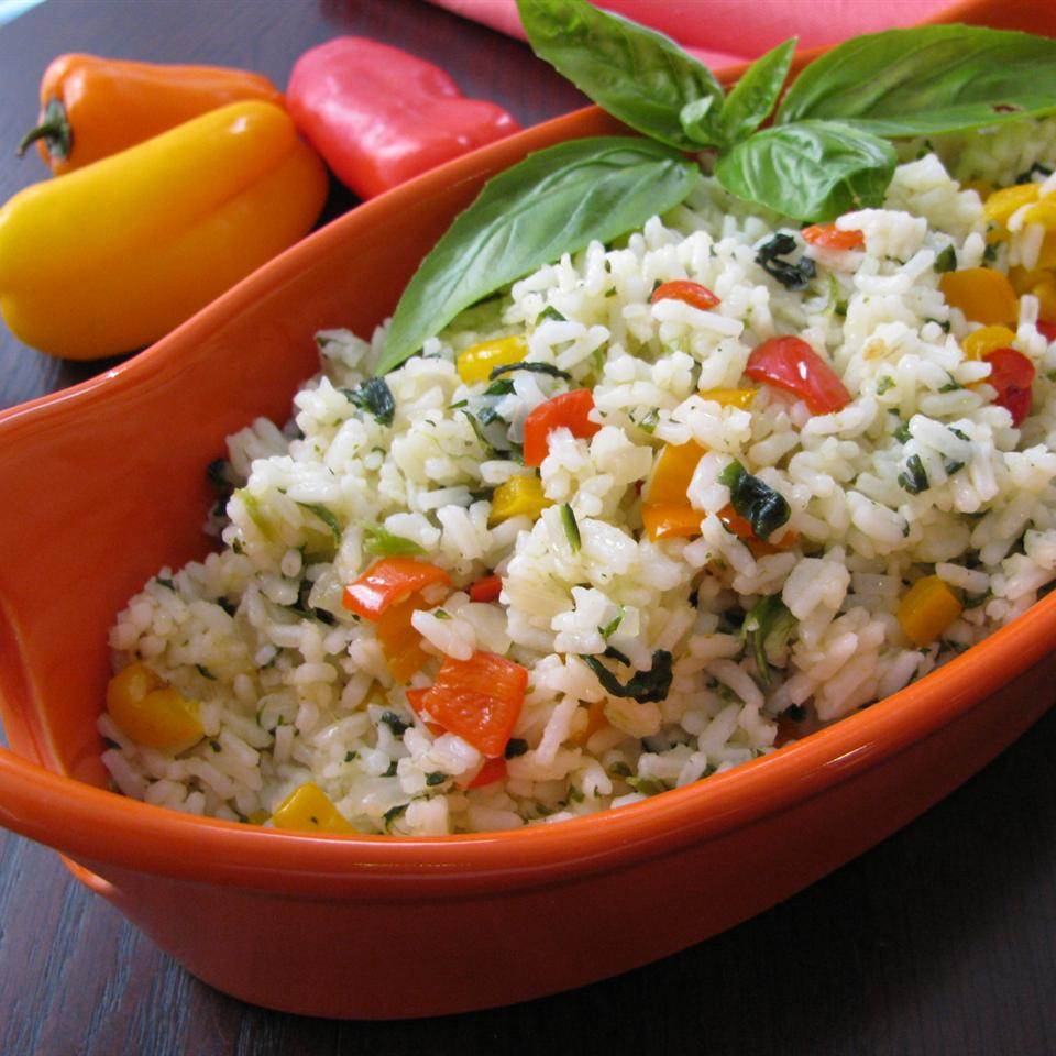 Sunny Pepper Parmesan Rice with Spinach Sugarplum