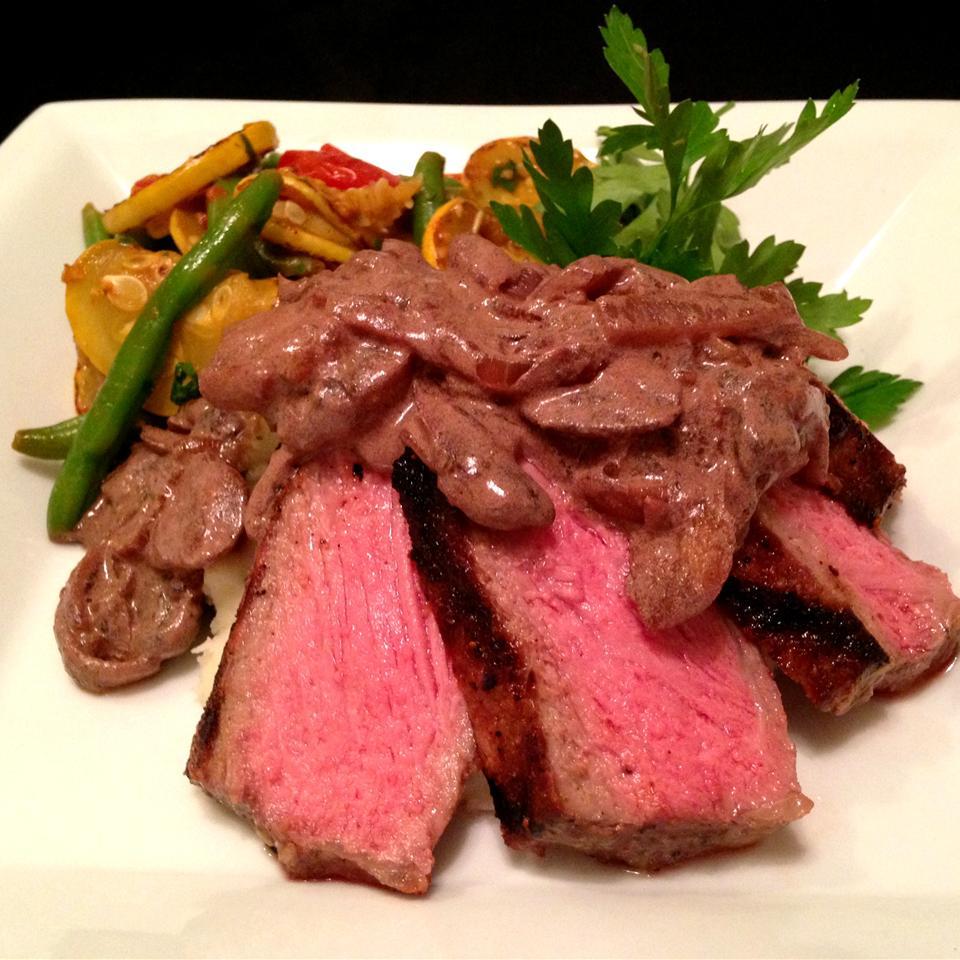 Strip Steak with Red Wine Cream Sauce