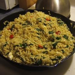 Elegant Orzo with Wilted Spinach and Pine Nuts dana