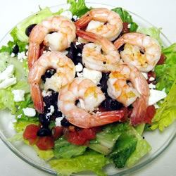 Greek-Style Shrimp Salad on a Bed of Baby Spinach rocks