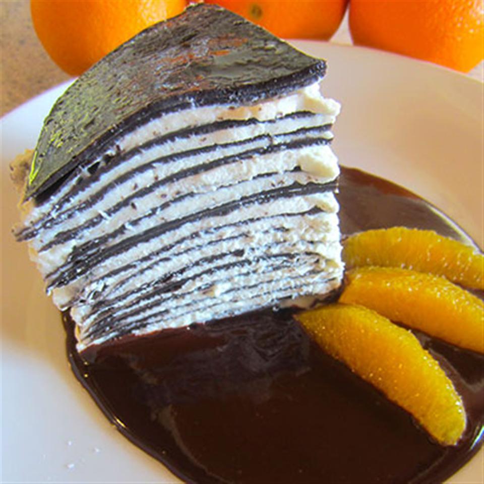 Chocolate Crepe Cake with Salted Chocolate Orange Sauce