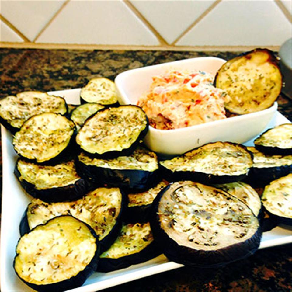 Salted Eggplant Chips with Bruschetta Spread