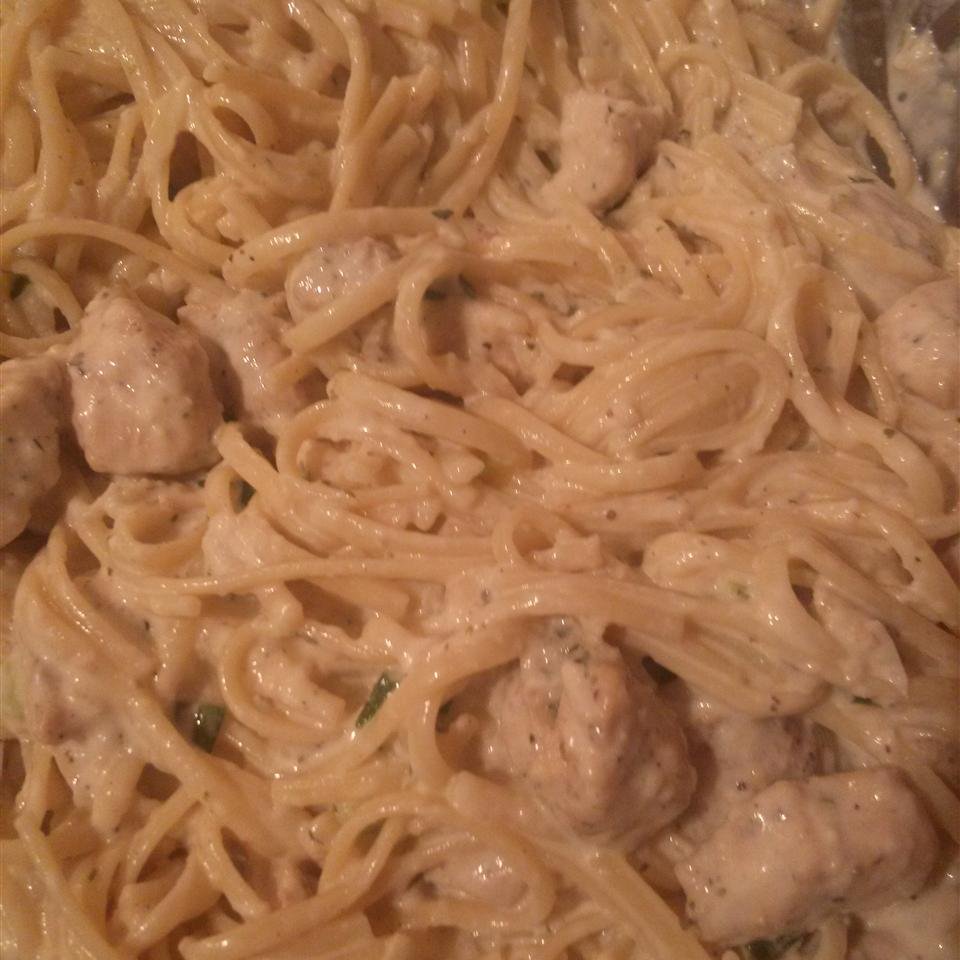 Creamy Chicken on Linguine