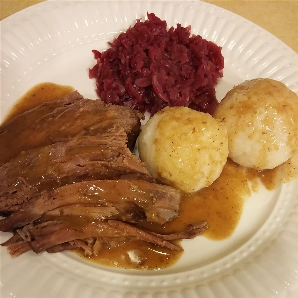 "Rump roast is marinated in spiced cider vinegar for five days, then seared and braised and served with a sour cream sauce. ""The BEST sauerbraten I have ever had!"" raves SUGARHOVIS."