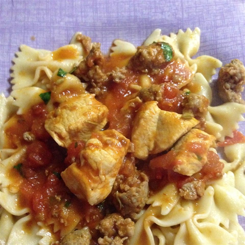 Chicken and Sausage with Bowties