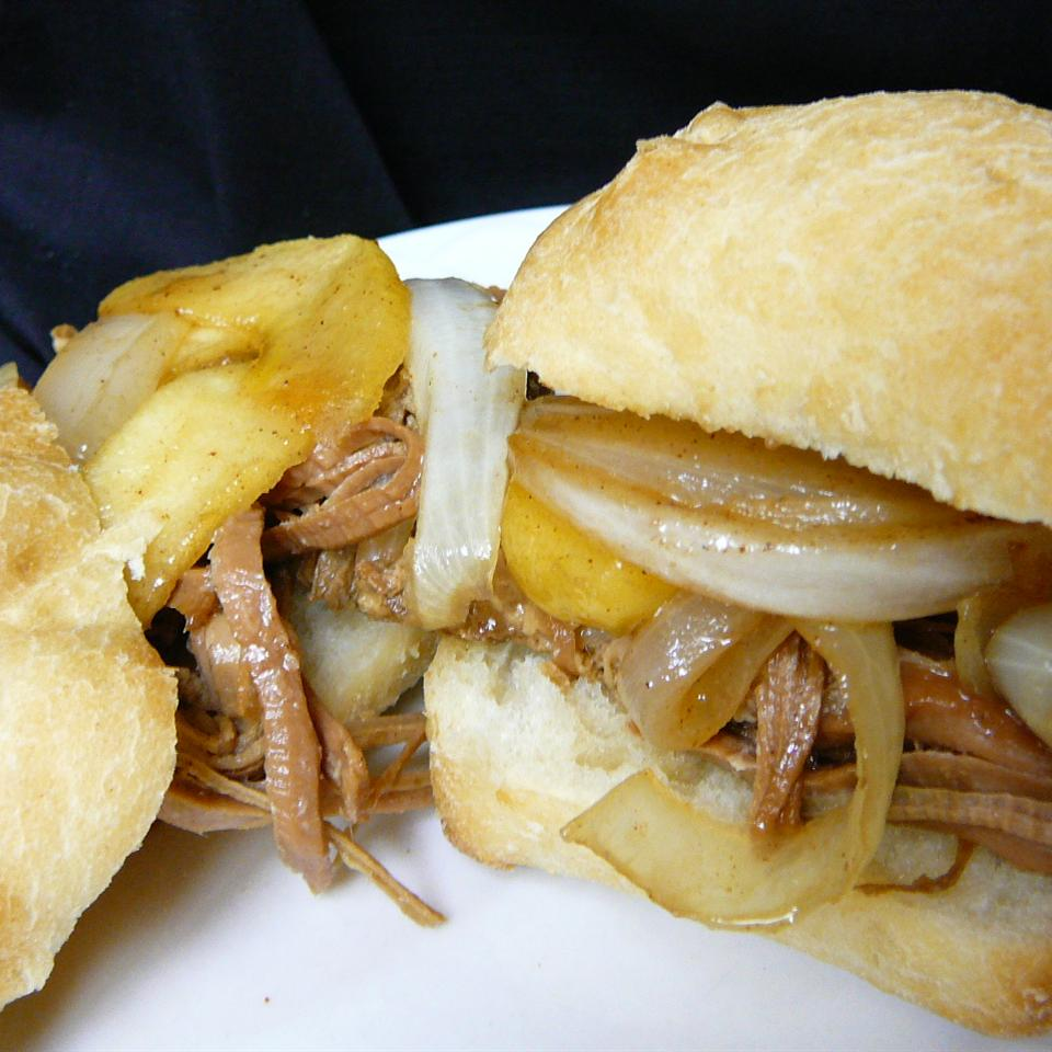 Apple Cider Pulled Pork with Caramelized Onion and Apples Molly