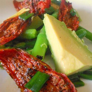 asparagus avocado and slow roasted tomato salad