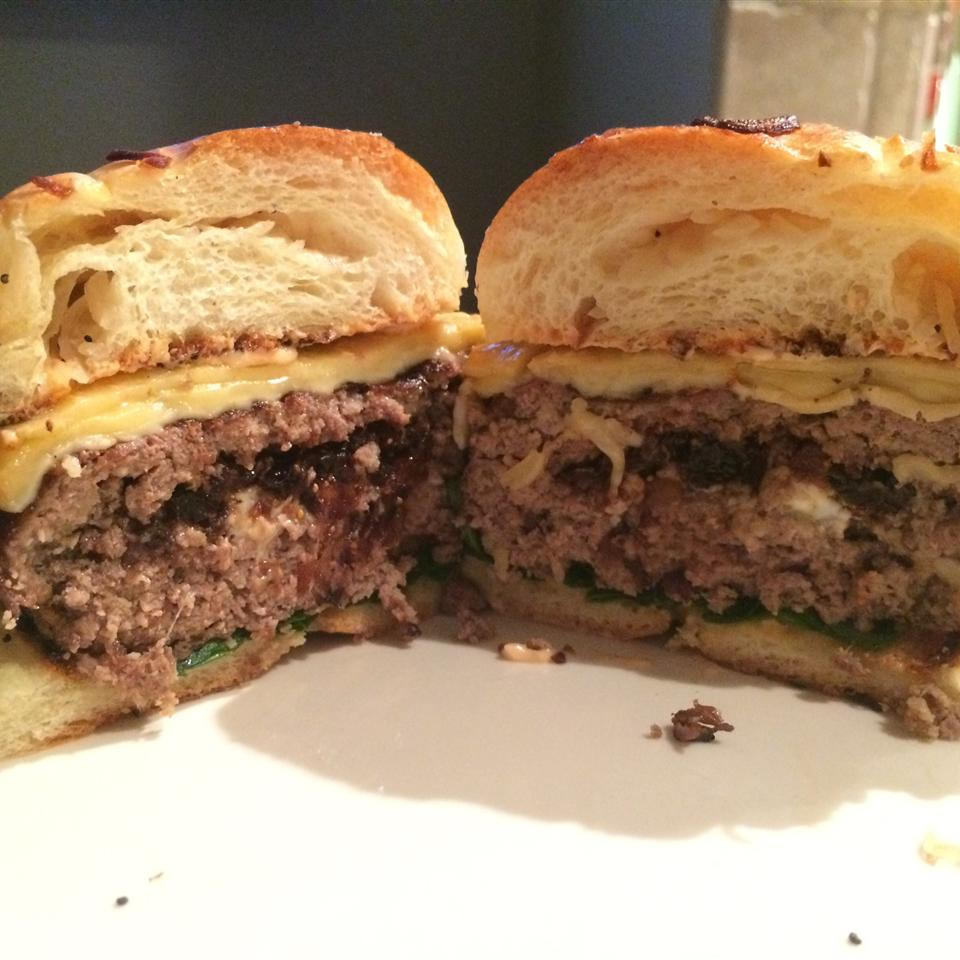 Stuffed Bison Burgers with Caramelized Figs and Shallots