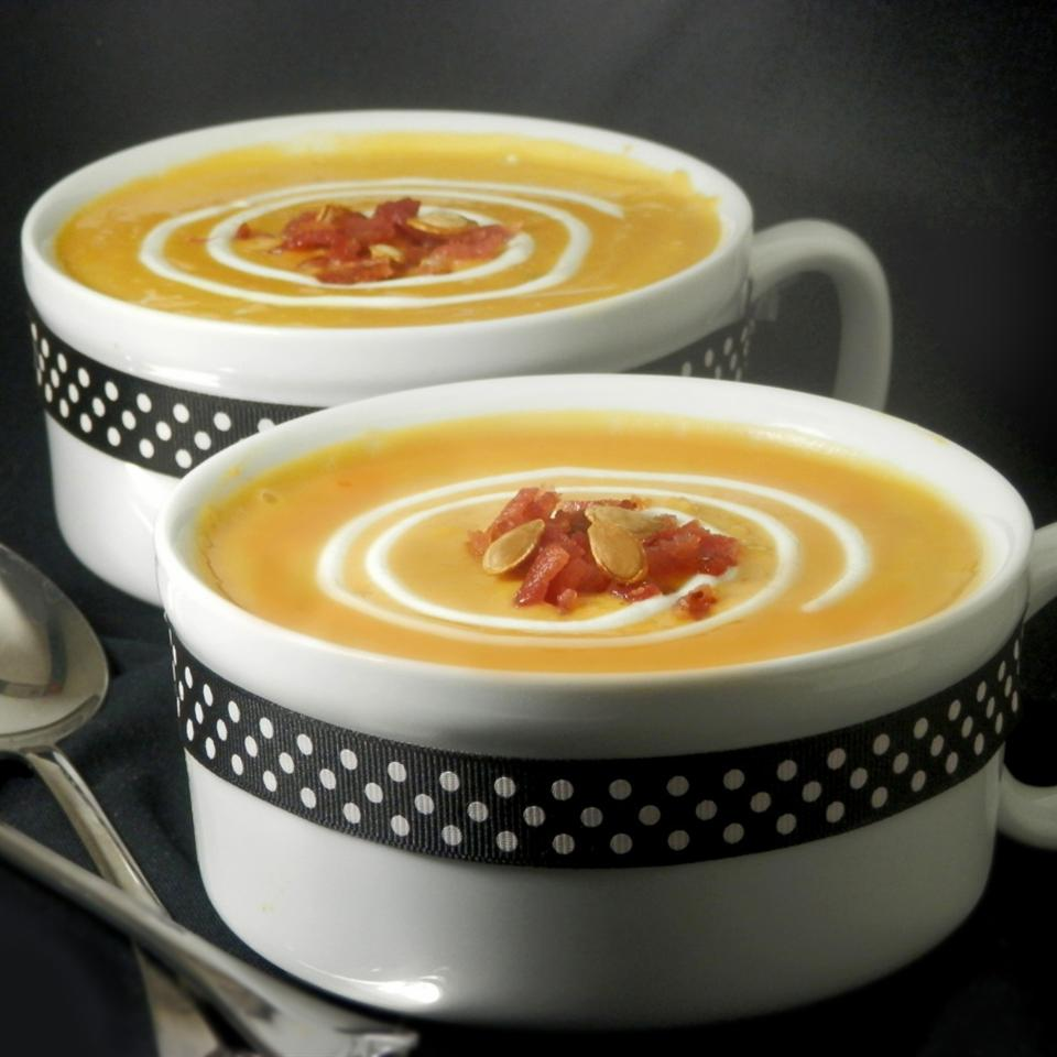 Roasted Butternut Squash and Sweet Potato Bisque with Smoked Applewood Bacon Nanby