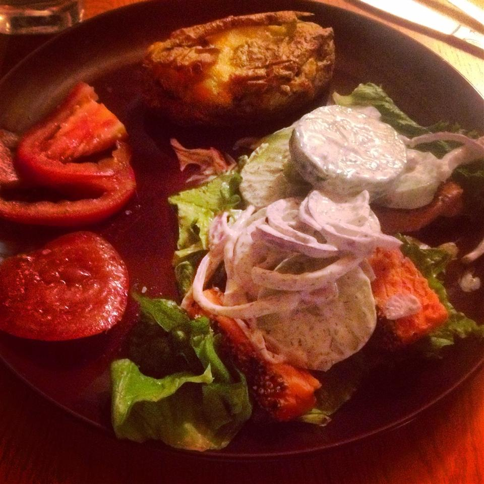 Grilled Salmon With Cucumber Salad andelope