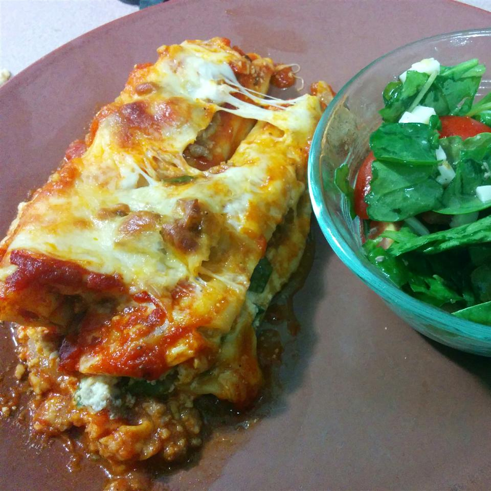 Spinach Manicotti with Italian Sausage