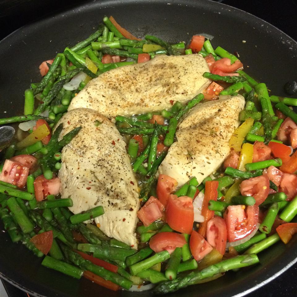 Chicken with Asparagus and Roasted Red Peppers MKATES