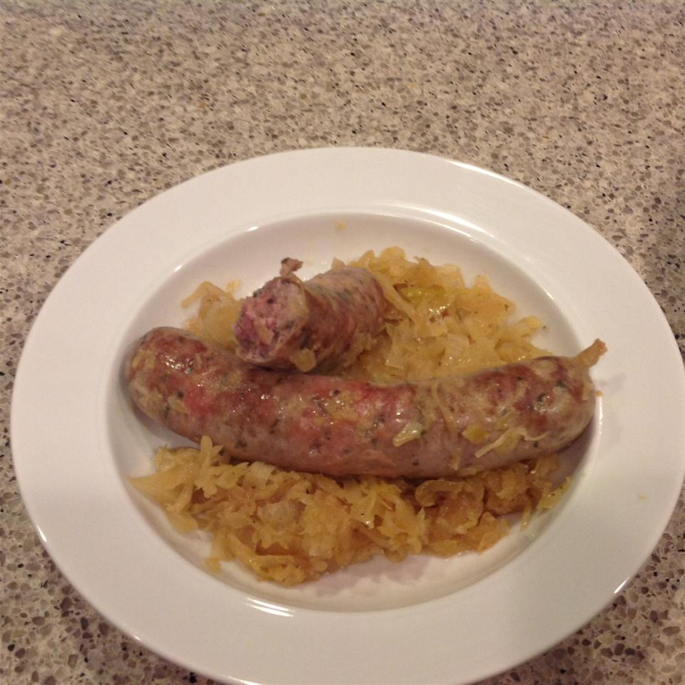 Beer Glazed Brats and Sauerkraut susghost017