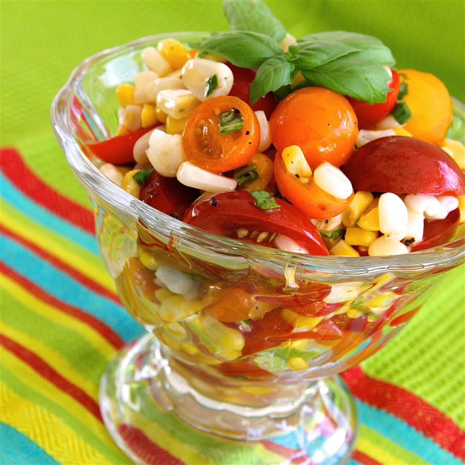 Tomato, Basil, and Corn Salad with Apple Cider Dressing