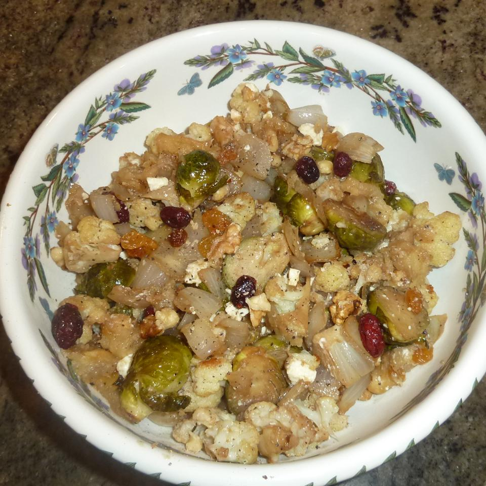 Roasted Brussels Sprouts with Apples, Golden Raisins, and Walnuts rivahgal