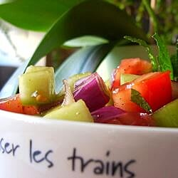 tomato cucumber and red onion salad with mint recipe