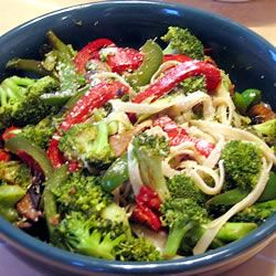 Linguini with Broccoli and Red Peppers JennP