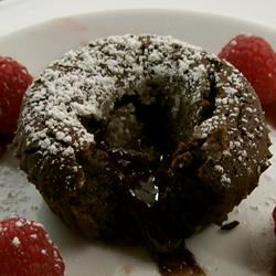 Molten Chocolate Cakes With Sugar-Coated Raspberries