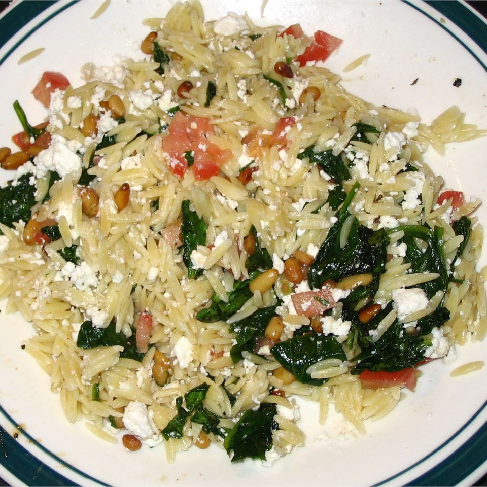 Elegant Orzo with Wilted Spinach and Pine Nuts Mark P