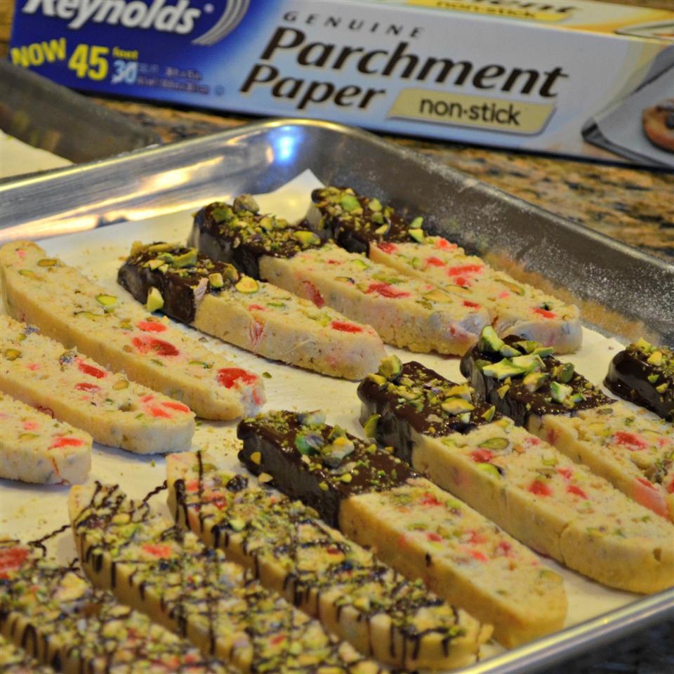 Chocolate-Dipped Pistachio Biscotti