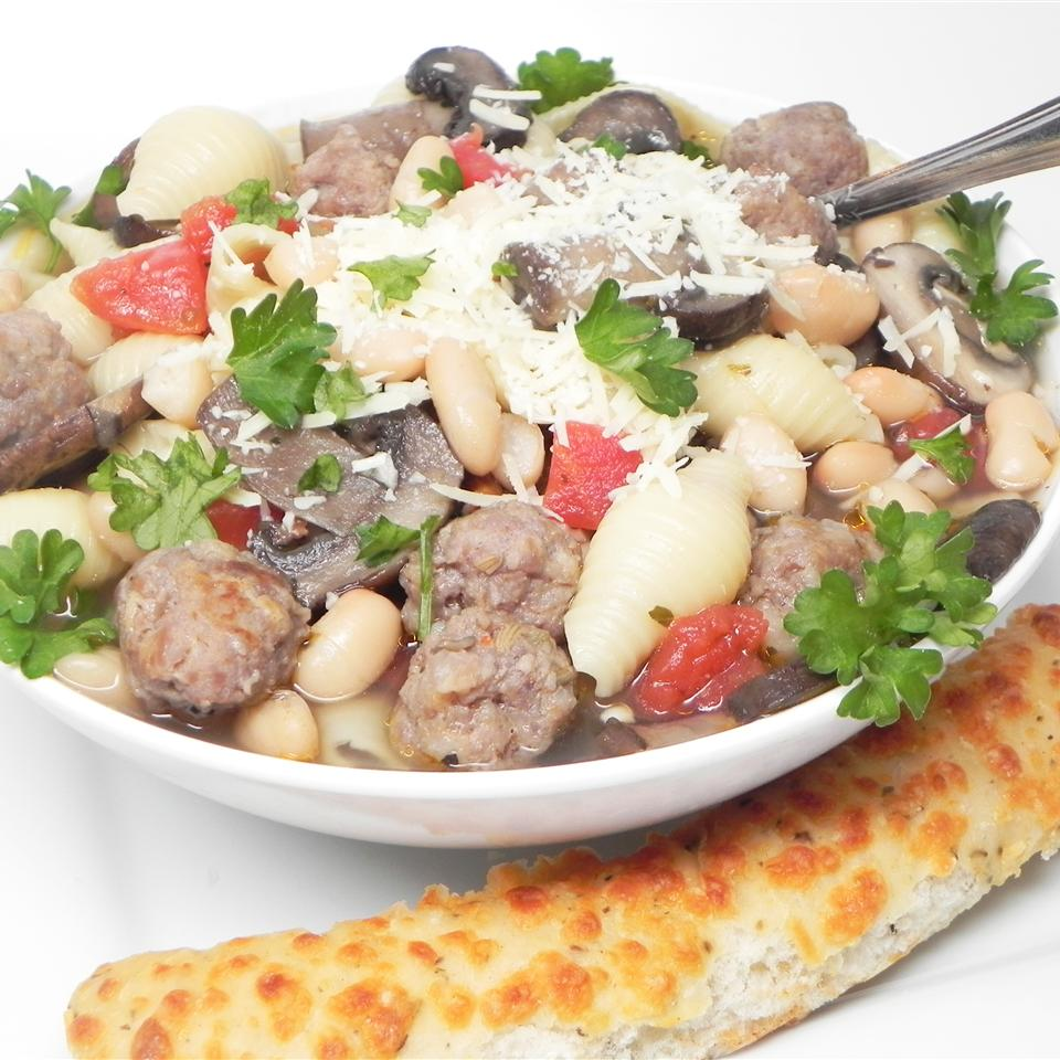 Gluten Free Elbows with Mixed Mushrooms and Italian Sausage Soup