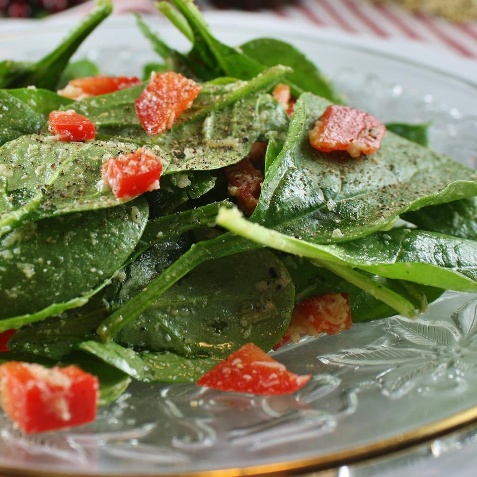 Super Easy Spinach and Red Pepper Salad Spunky Buddy