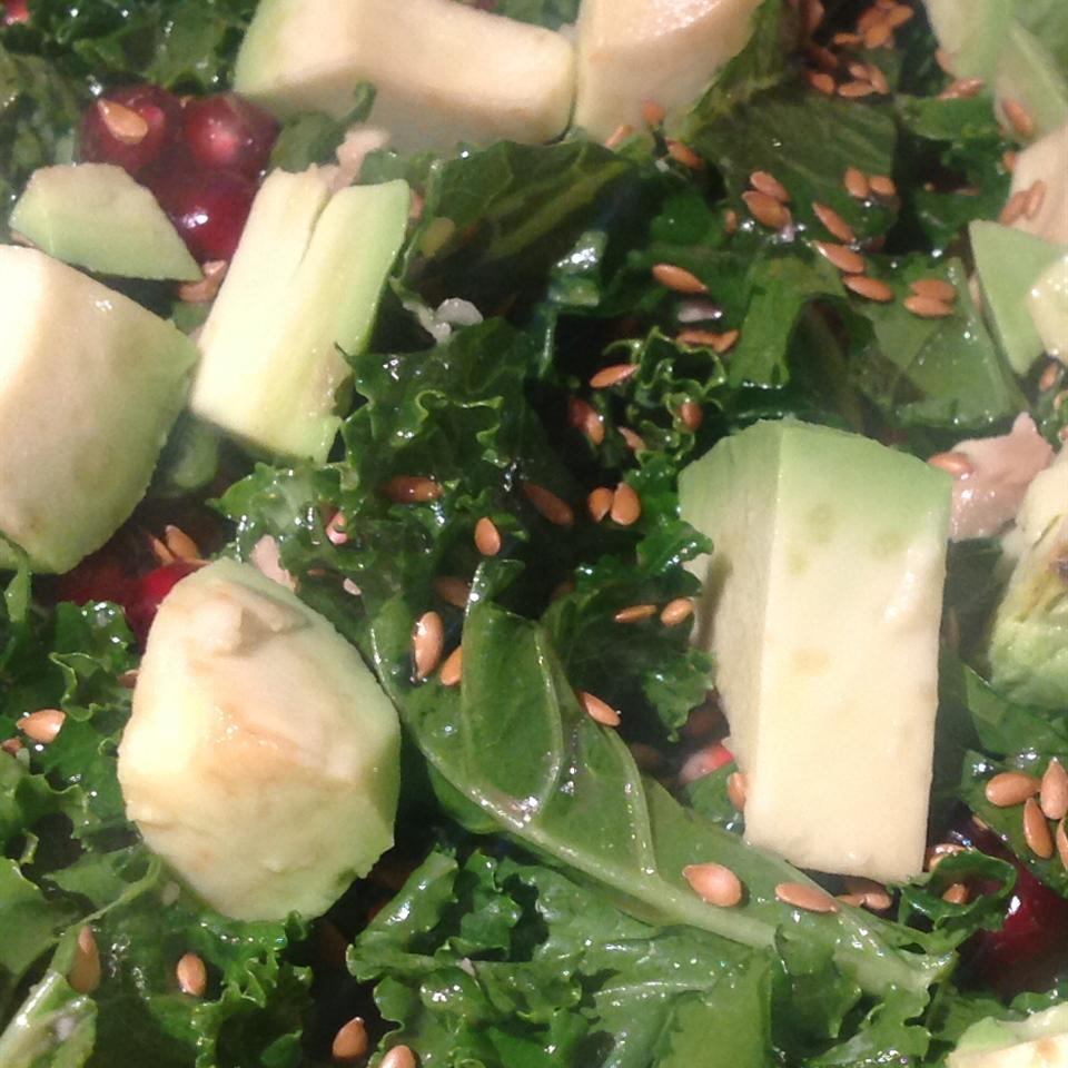 Kale Salad with Pomegranate, Sunflower Seeds and Sliced Almonds Audra