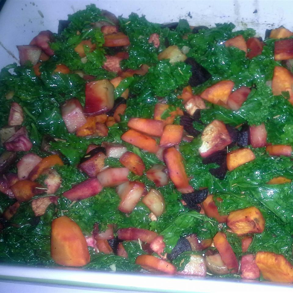 Roasted Root Vegetables with Kale
