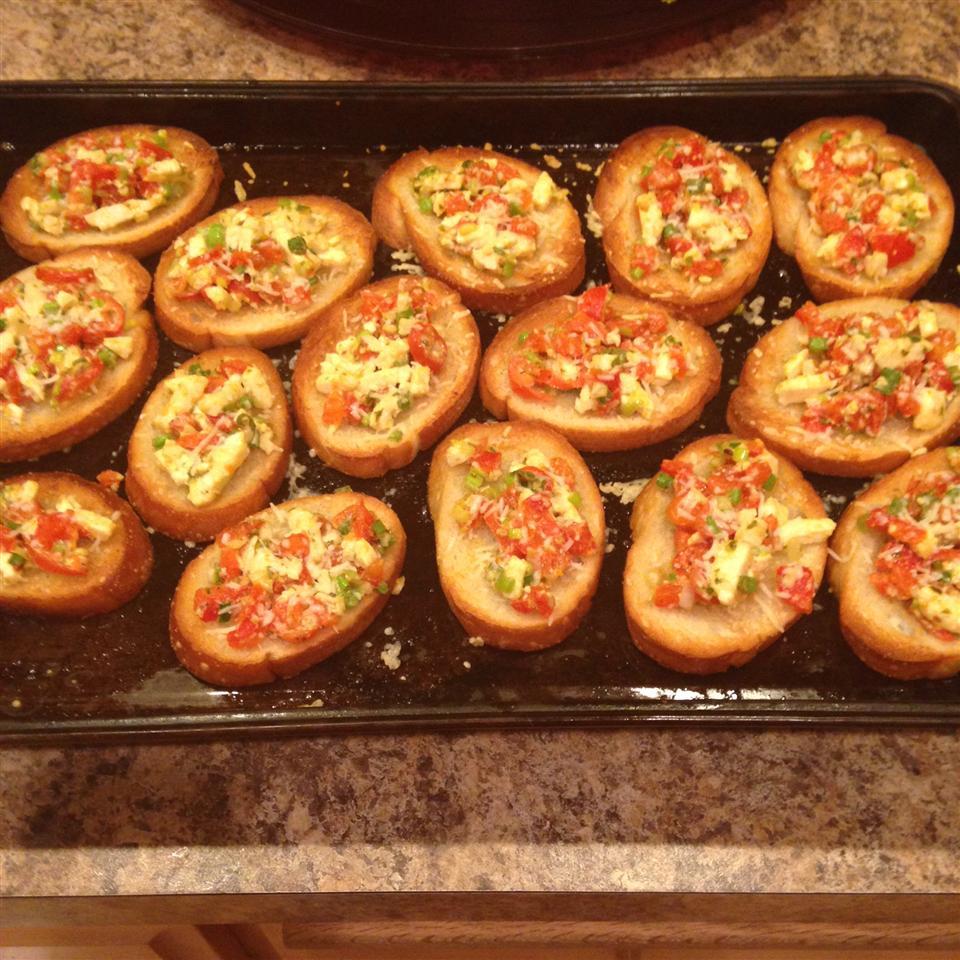 Roasted Red Pepper and Feta Bruschetta