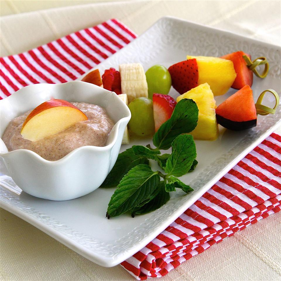 Kids can stir up the easy yogurt dip and even thread the fruit onto skewers, if they're old enough. What a fun way to encourage them to make and eat healthier snacks.