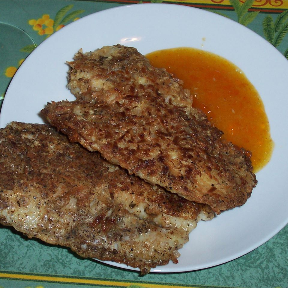 Coconut Tilapia with Apricot Dipping Sauce Karen Martell Bishop