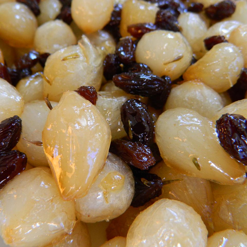 Glazed Pearl Onions With Raisins And Almonds mauigirl