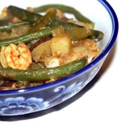 Trinidad-Style Curried Potatoes (Aloo) with Green Beans and Shrimp