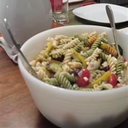 Greek Pasta Salad with Shrimp, Tomatoes, Zucchini, Peppers, and Feta Cooking Mama
