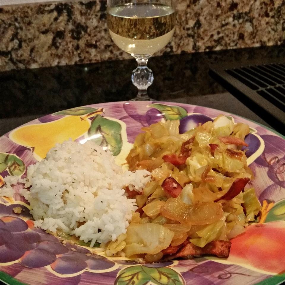 Spicy Delicious Fried Cabbage with Turkey Bacon