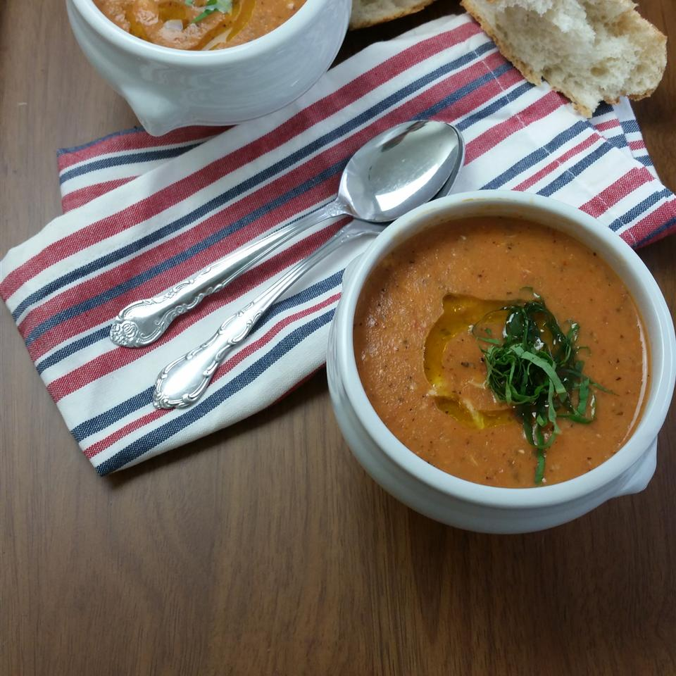 Tomato Bisque with Chicken Snacking in the Kitchen