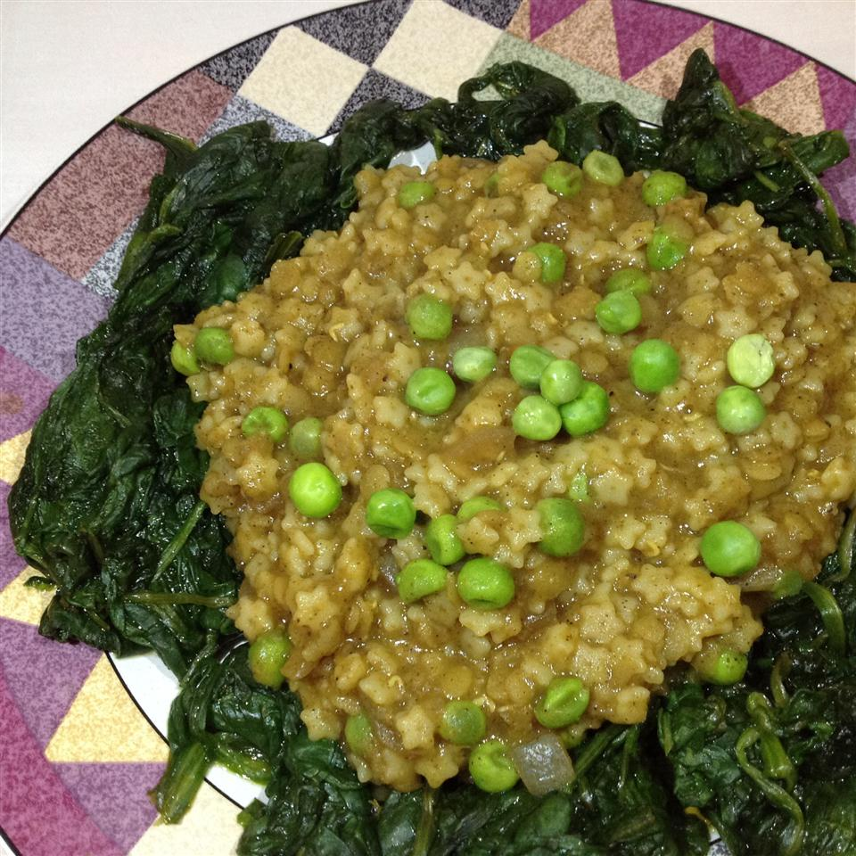 Curried Quinoa with Red Lentils and Kale