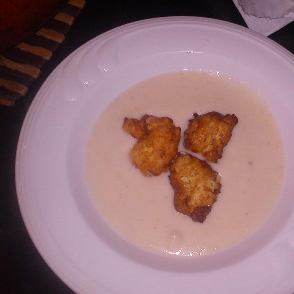 Cauliflower Soup with Blue Cheese Fritters mai