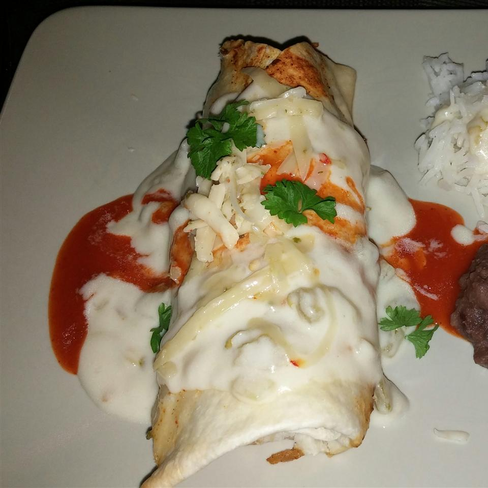 Chicken Chimichangas with Sour Cream Sauce Cathy C