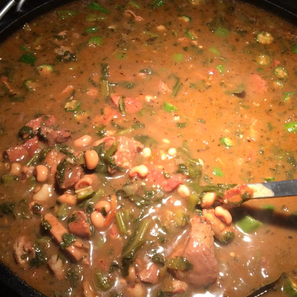 Black-Eyed Pea, Pork, and Mustard Green Gumbo RFalgout