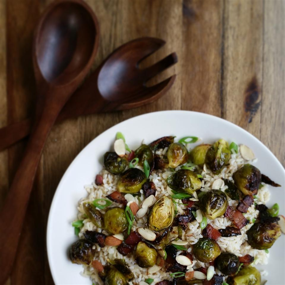 Maple Roasted Brussels Sprouts with Bacon