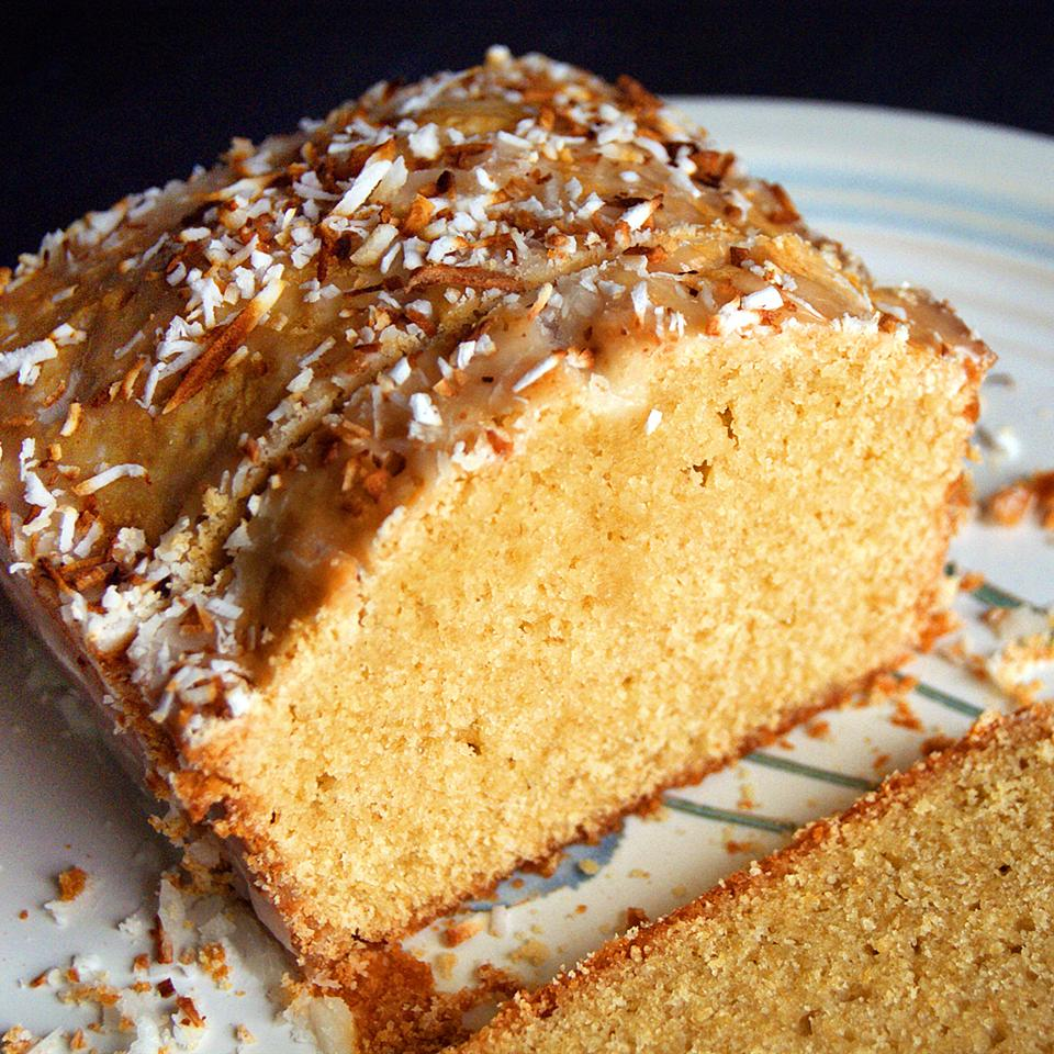 Pound Cake with Lemon Coconut Glaze cookieworshipper