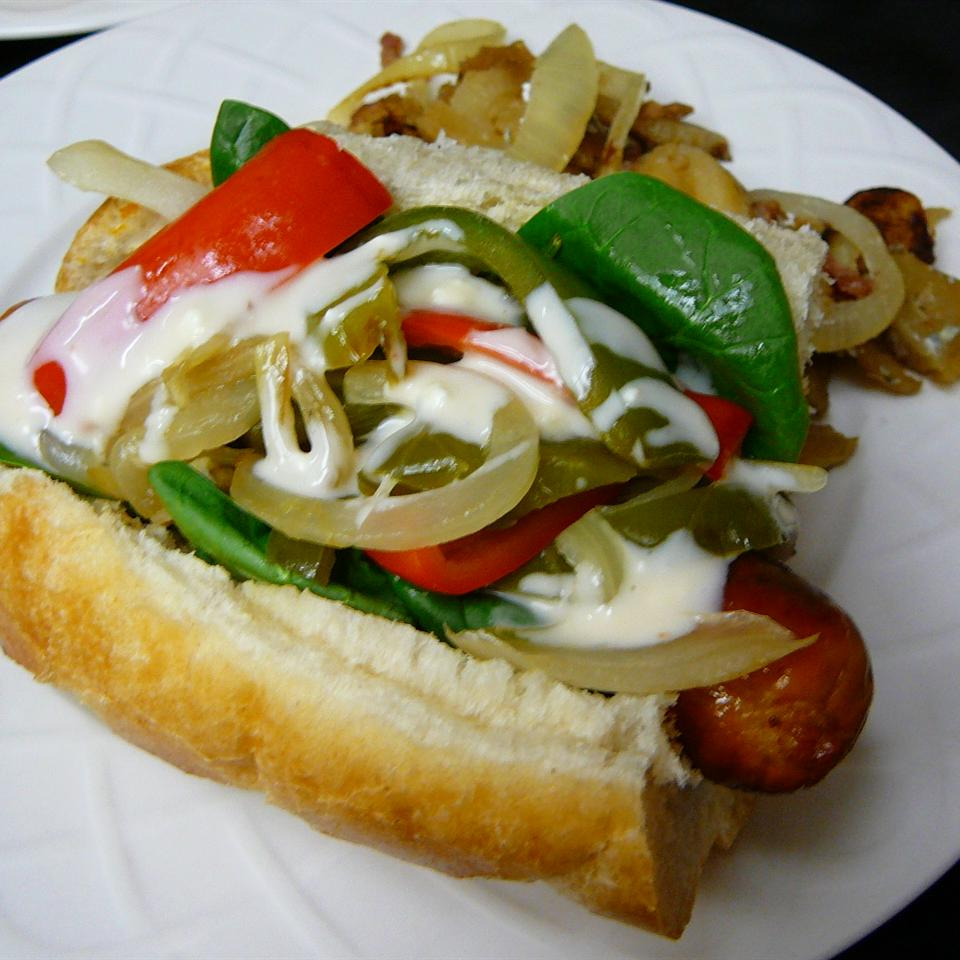 Buffalo Chicken Sausage and Pepper Sandwich