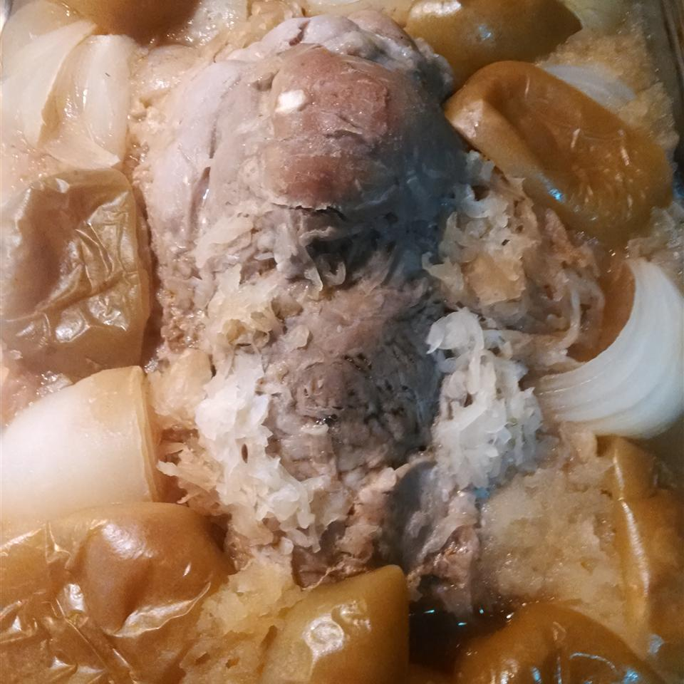 Pork Roast with Apples, Beer, and Sauerkraut Erica Moyer Beaton