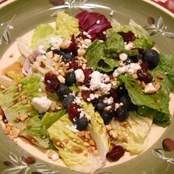 Deliciously Sweet Salad with Maple, Nuts, Seeds, Blueberries, and Goat Cheese ~TxCin~ILove2Ck