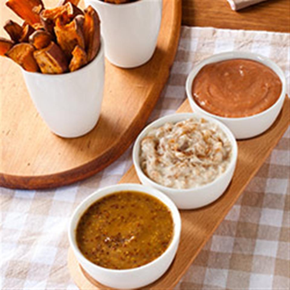 Sweet Potato Oven Fries & Three Dips